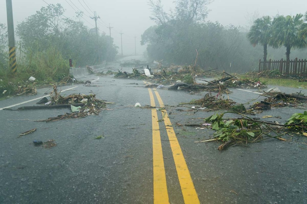 Debri Blocking Road During A Hurricane